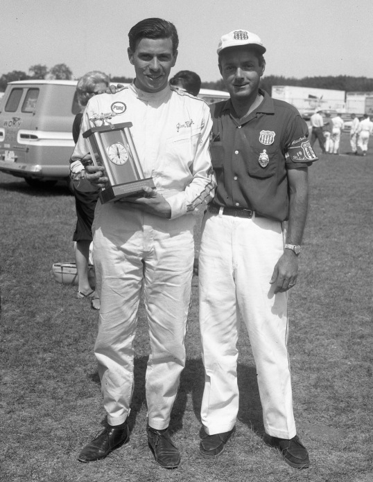 63-8-18 J Clark With Fast Time Trophy& Mike Billing USAC Official _268