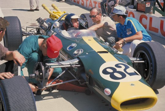 Indianapolis 500, Indianapolis, IN, 1965. Jim Clark prepares for practice in his Lotus-Ford 38. CD#0777-3292-0895-29.
