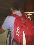 Speaking of back-packs, which Ferrari team member lucked in to number 27? Jonathan Giacobazzi, of course - seen here checking in to the hotel on Wednesday evening