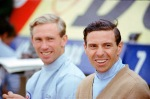 Pre-race, and Jim looks a little tense as he sits on the pit wall with team-mate Mike Spence. He wears his favourite cardigan - the one Sally Stokes gave him for Christmas in 1964