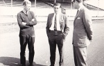 "Jim talks motor racing at Ingliston. Graham Gauld, who at that point was in the process of updating ""Jim Clark at the Wheel"", is on Clark's right"